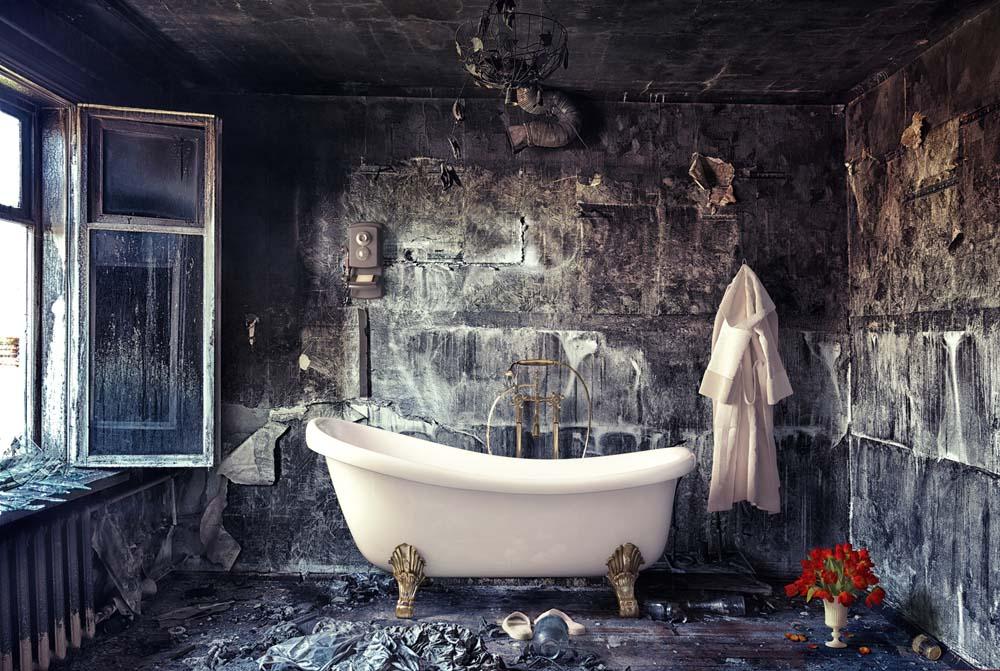 Badezimmer zum Entspannen mit kleinen Elementen